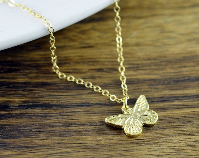 Gold Butterfly Necklace, Butterfly Necklace, Butterfly Charm Necklace, Butterfly Jewelry, Mother, Best Friends Gift, Wife Gift