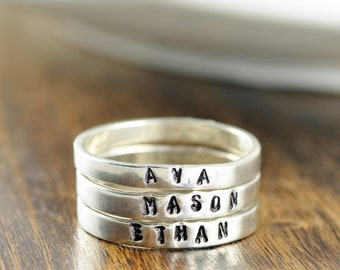 Moms Stackable Rings, Sterling Silver Mom Ring, Mothers Ring, Stacking Name Rings, Gift for Mom, Mothers Day Gift, Mothers Jewelry