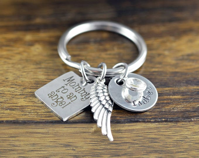 Mommy To An Angel KeyChain - Memorial Keychain, Remembrance Jewelry, Bereavement Gift, Sympathy Gift, Loss of Loved One, Infant Loss Gifts