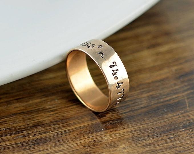 Coordinate Ring, Latitude Longitude Ring, Custom Coordinates, Coordinate Jewelry, Hand Stamped Ring, Brass Gold Ring