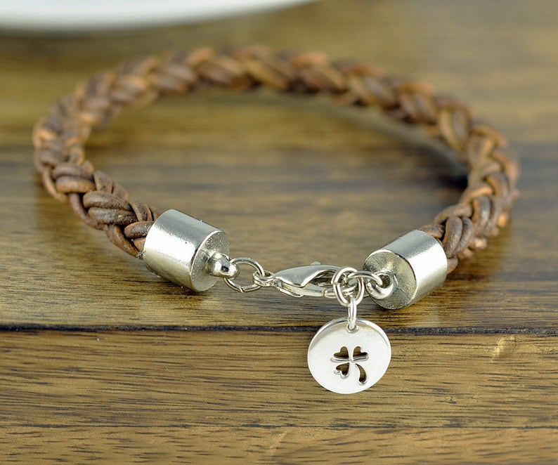 26740b3489491 Mens Leather Bracelet - Mens Charm Bracelet - Mens Bracelet - Mens Gift -  Lucky Bracelet - Four Leaf Clover Jewelry - Lucky Charm Bracelet