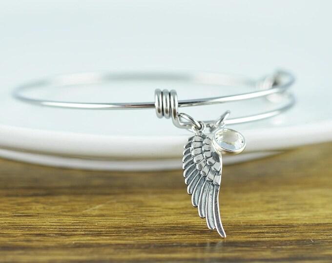 Silver Angel Wing Bracelet, Angel Wing Jewelry, Angel Wing Bangle Bracelet, Memorial Jewelry, Sympathy Gift, Birthstone Bracelet
