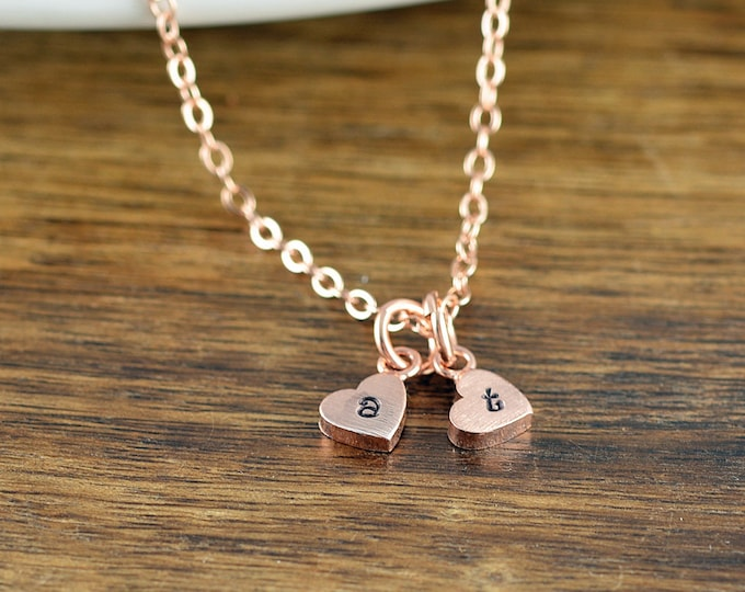 Tiny Rose Gold Personalized Necklace, Rose Gold Jewelry, Heart Necklace, Love Necklace, Charm Necklace, Bridesmaid Gift, Heart Necklace