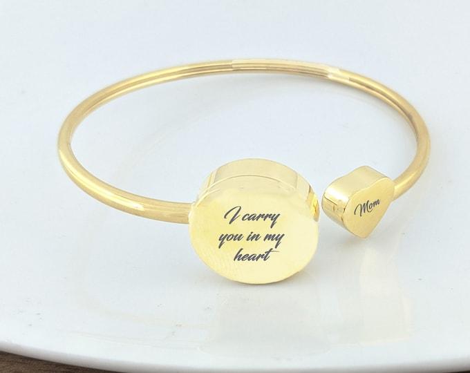 I Carry You In My Heart Bracelet, Cremation Jewelry, Memorial Bracelet, Sympathy Gift, Cremation Bracelet, Adjustable Bracelet, Funeral Gift