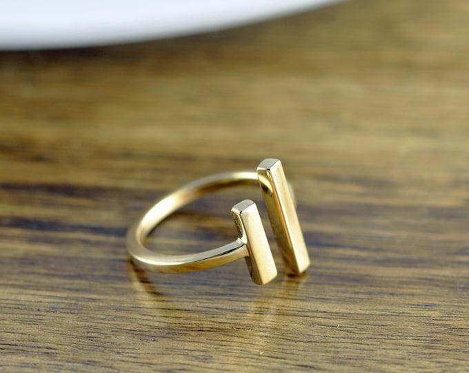 parallel bar ring, gold ring, parallel ring, long bar ring, adjustable ring, geometric ring, modern minimalist ring, gift for her