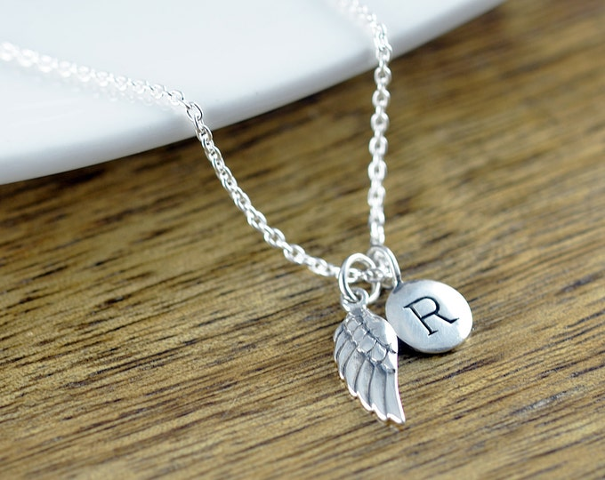 Personalized Silver Wing Necklace - Remembrance Jewelry - Guardian Angel Wing Necklace - Initial Necklace - Infant Loss Necklace