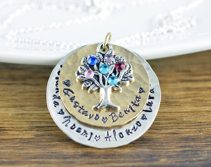 Family Tree Necklace - Tree of Life Pendant - Mothers Necklace - Tree of Life Jewelry - Mom Necklace with Kids Names - Gift for Grandmother