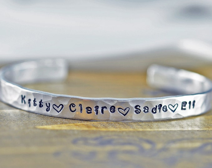 Custom Cuff Bracelet, Personalized Cuff Bracelet, Mothers Bracelet, Mommy Jewelry, Kids Name Bracelet, Christmas Gifts or Her