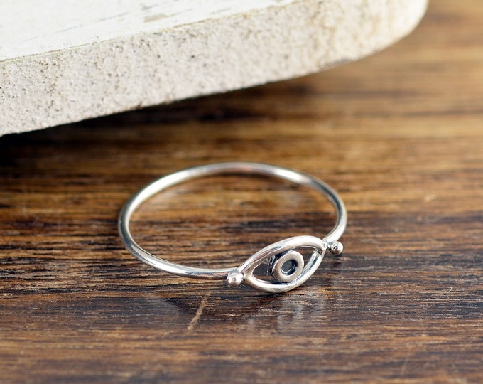 Evil Eye Ring, Silver Ring, Evil Eye Jewelry, Stacking Rings, Birthday Gifts for Her, Gift for Women, Minimalist ring, Evil eye ring