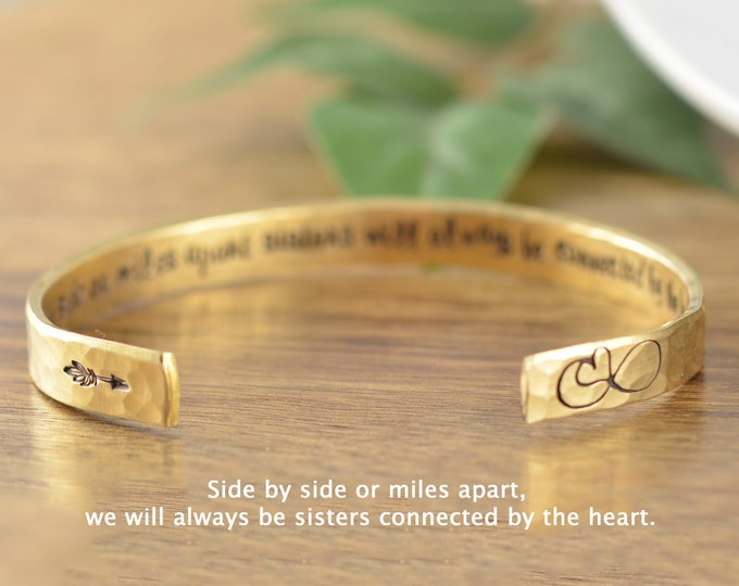 Cuff Bracelet, SISTERS Bracelet, Sisters Jewelry, Sisters Distance Gift, Sisters Side By Side, Sisters Connected By Heart, Sisters Cuff