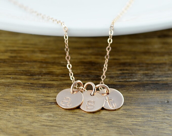 Rose Gold Initial Necklace, Rose Gold Necklace, Hand Stamped Initial Necklace, Rose Gold Jewelry, Personalized Jewelry, Custom Necklace