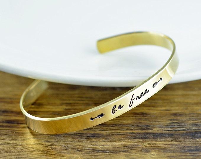 Custom Cuff Bracelet, Personalized Cuff Bracelet, Be Free Cuff Bracelet, Inspirational Jewelry, Inspirational Bracelet, Inspirational Quote