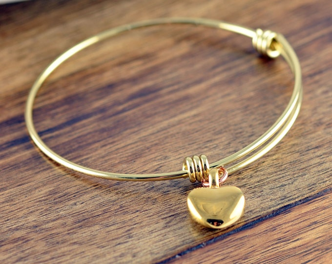 Cremation Bracelet, Cremation Jewelry, Ash Jewelry, Heart Cremation Pendant,Urn Bracelet For Ashes,Gold Heart Bangle Bracelet, Memorial Gift