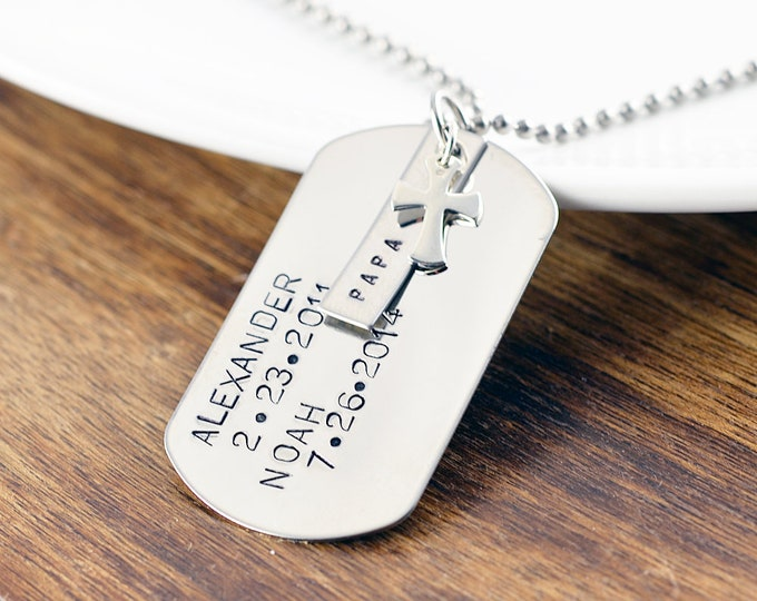 Dog Tags Custom, Gift for Dad, Personalized Father's Necklace, Father's day gift, Dad Necklace, Mens Necklace, Mens Personalized Necklace