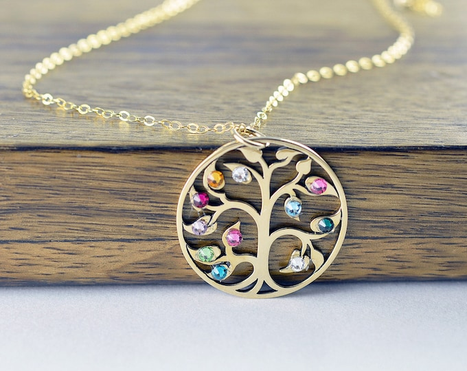 Gold Family Tree Necklace - Mother's Necklace - Birthstone Necklace - Birthstone Jewelry - Grandmother Necklace - Mothers Day Gift