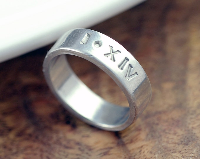 Personalized Ring, Unisex Ring, Roman Numeral Ring, Hand Stamped Ring, Date Ring, Anniversary Gifts for Men, Mens Gift, Boyfriend Gift