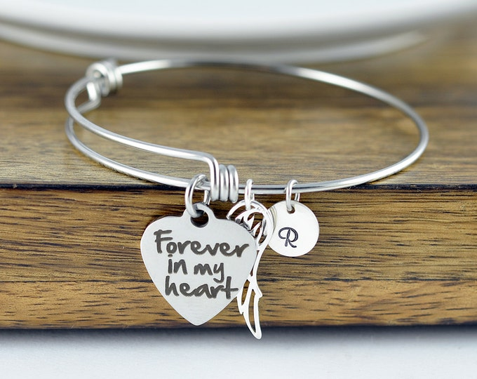 Forever in my heart, personalized bracelet, remembrance jewelry, remembrance bracelet, memorial bracelet, memorial jewelry, sympathy gift