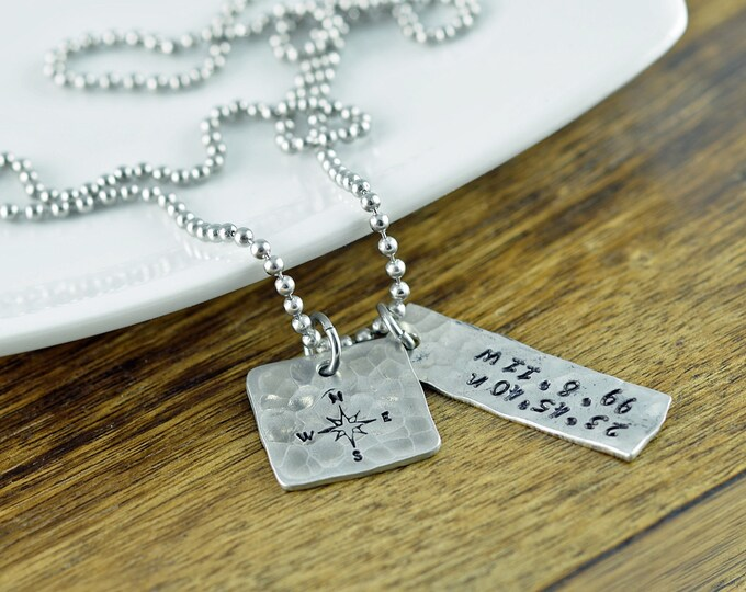 Mens Coordinates Necklace, Latitude Longitude Necklace, Personalized Hand Stamped Jewelry, Coordinates Jewelry, Coordinate Necklace