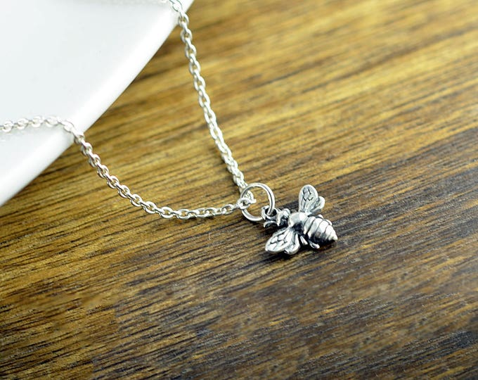 Honey Bee Necklace, Sterling Silver Bee Necklace, Bumblebee Pendant, Insect Jewelry, Minimalist Jewelry, Bridesmaid Gift, Best Friends Gift