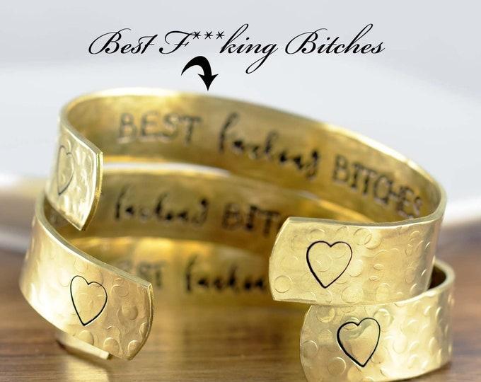 Best Bitches Bracelet, Secret Message Jewelry, Best Friend Jewelry, Best Friend Bracelets, Bridesmaid Bracelets, BFF Cuff, Personalized Gift