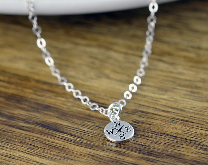 Sterling Silver Compass Necklace - Tiny Compass Charm - Wanderlust Necklace - Compass Necklace - Compass Jewelry - Best Friend Gift
