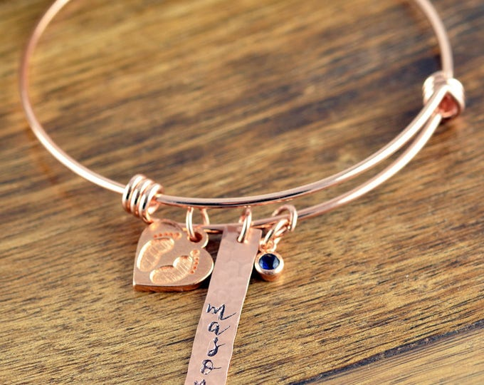 Rose Gold Baby Name Bracelet, Mommy Bracelet, New mom Gift, New Mom Jewelry,Personalized Baby Name Bracelet, Mommy to be