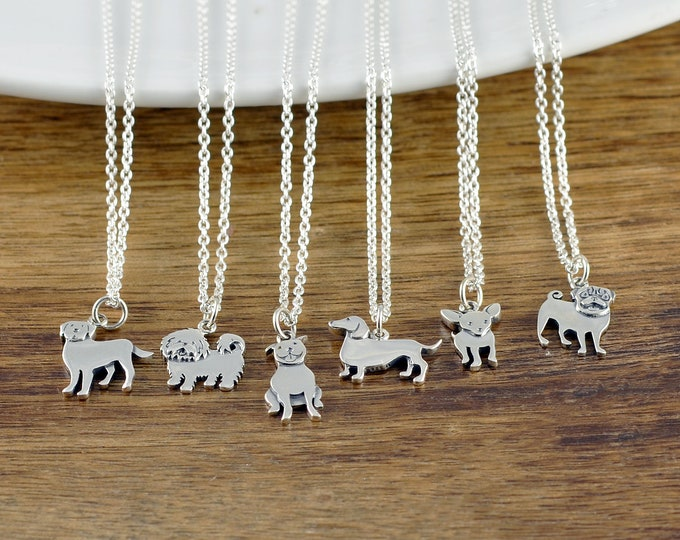 Dog Charm Necklace, Dog Lover Necklace, Dog Mom Necklace, Dog Lover Gift, Animal Lover Gift, Christmas Gifts, Pug, Pitbull, Labrador