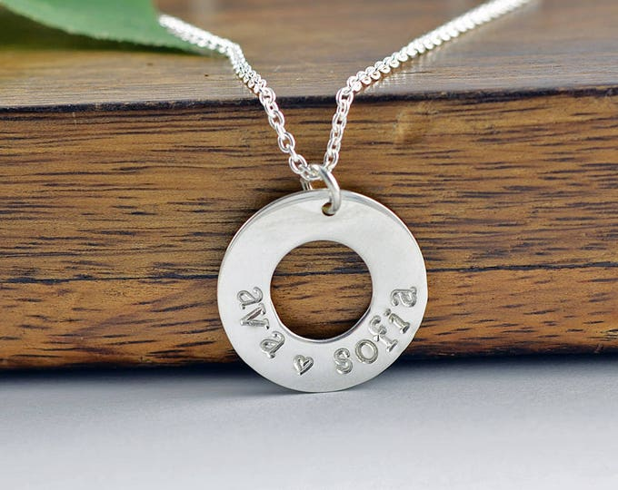 Silver Washer Necklace, Mother Necklace, Silver Necklace, Name Necklace, Mommy Necklace, Custom Necklace,Gift Idea,Necklace for Mom