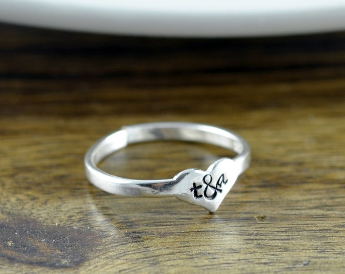 sterling silver heart ring, love ring, initial ring, initial jewelry, stacking rings, gift for her, valentines day, romantic jewelry