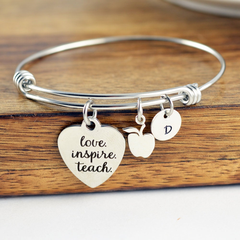 Love Inspire Teach Bracelet Personalized Teacher Gift Gifts Birthday Appreciation