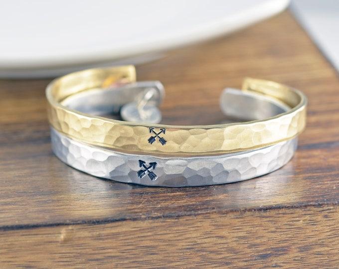 Crossed Arrows, Friendship Bracelet, Personalized Gift, Best Friends Gift, Friend Gift, Gift for BFF, Friends Jewelry, Friendship Bracelet