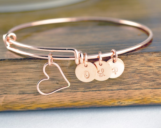 Rose Gold Initial Bracelet, Birthday Gift for Mom, Mother's Bracelet, Grandma Bracelet, Gift for Grandma, Mothers Day Jewelry