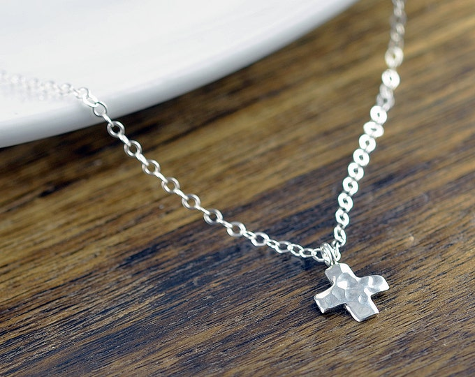 silver cross necklace - cross necklace - tiny cross necklace - everyday necklace - gift for her - delicate necklace - layering necklace