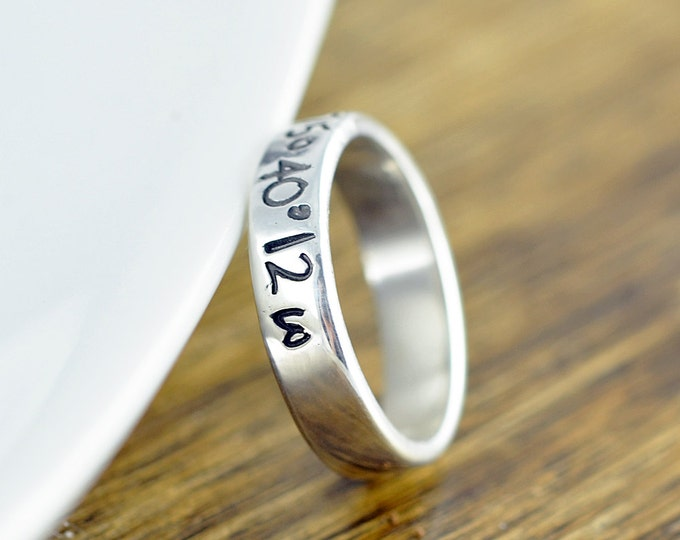 Coordinate Ring, GPS Coordinates Gift, Latitude Longitude Ring, Custom Coordinates, Hand Stamped Ring, Sterling Silver Ring