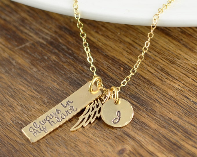 Always in my Heart, Gold Initial Necklace, Personalized Angel Wing Necklace, Memorial Necklace, Memorial Jewelry, Remembrance Gifts