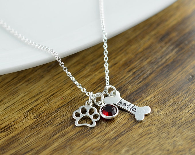 Silver Dog Bone Necklace - Personalized Dog Necklace - Dog Paw Necklace -Dog Jewelry - Paw Print - Pet Memorial - Dog Bone Charm Necklace