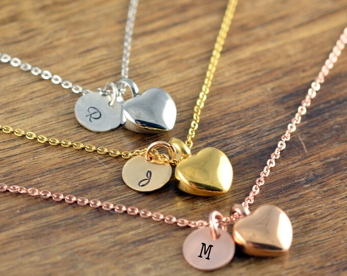Cremation Jewelry, Ash Jewelry, Heart Cremation Pendant, Urn Necklace For Ashes, Silver Rose Gold Heart Necklace, Initial Cremation Necklace