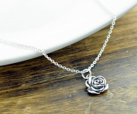 Argent Sterling Collier Rose Rose Fleur Collier En Argent