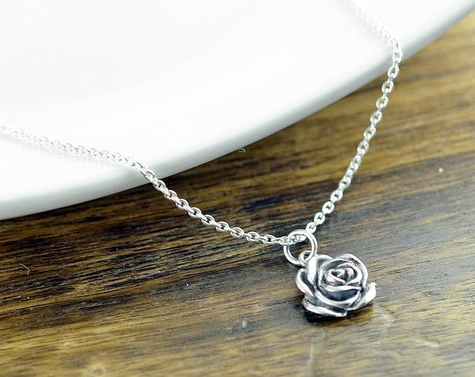 Sterling Silver Rose Necklace - Rose Flower Necklace - Sterling Silver Rose Charm - Flower Jewelry - Dainty Silver Necklace