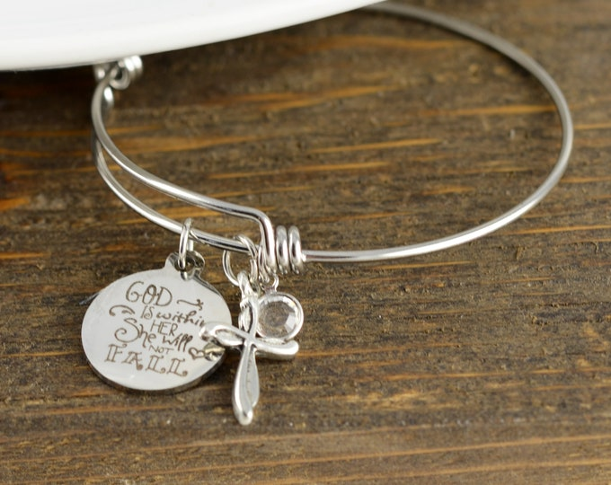 Scripture Jewelry for Women, Psalm 46:5, God is within her She will not Fall, Bible Verse Bracelet, Scripture Bracelet, Christian Jewelry