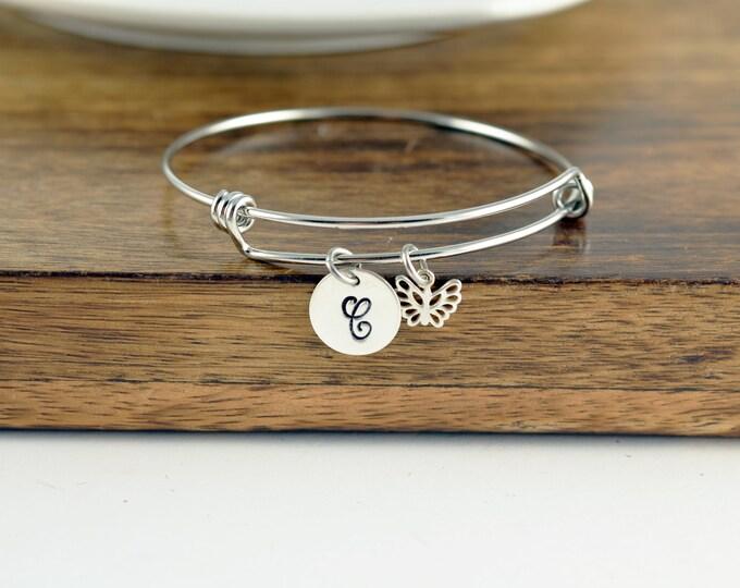 Personalized Butterfly Bangle Bracelet, Silver Butterfly Bracelet, Initial Butterfly Bracelet, Butterfly Charm Bracelet, Butterfly Jewelry