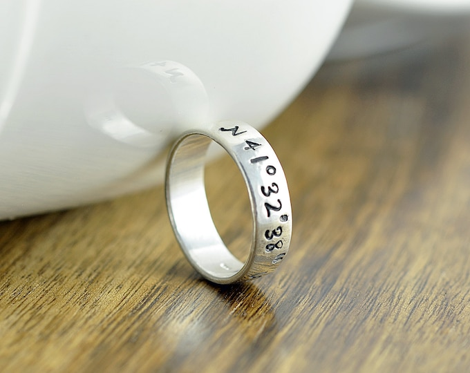 Coordinate Ring, Latitude Longitude Ring, Custom Coordinates, Coordinate Jewelry, Hand Stamped Ring, Sterling Silver Ring