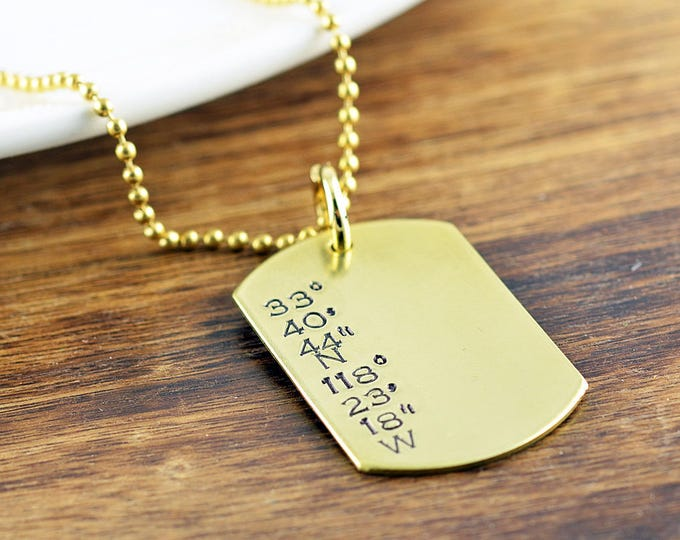 Mens Dog Tag Necklace, Hand Stamped Necklace, Coordinates Necklace, Gift for Boyfriend, Mens Necklace, Mens Jewelry