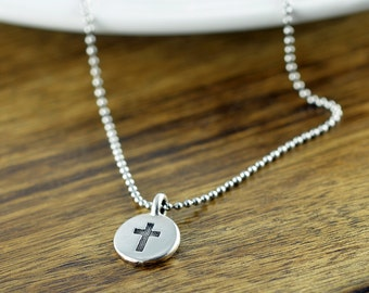 Mens Cross Necklace - Silver Cross Necklace - Mens Pewter Cross Necklace - Cross Necklace - Gift for Men - Mens Gift - Christian Gifts