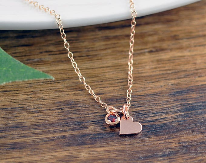 Tiny Rose Gold Necklace, Rose Gold Jewelry, Heart Necklace, Love Necklace, Charm Necklace, Birthstone Necklace, Bridesmaid Gift