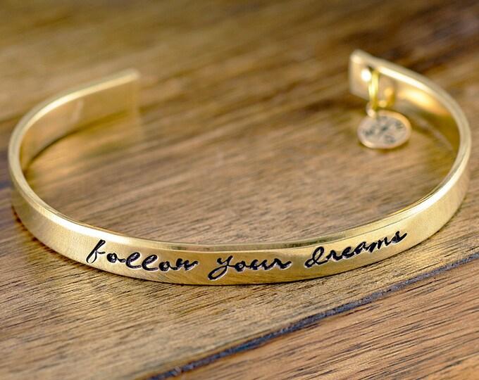 Graduation Bracelet, Follow Your Dreams Bracelet, High School Graduation Gift, College Graduation Gift, Graduation Gift For Girl, Graduation