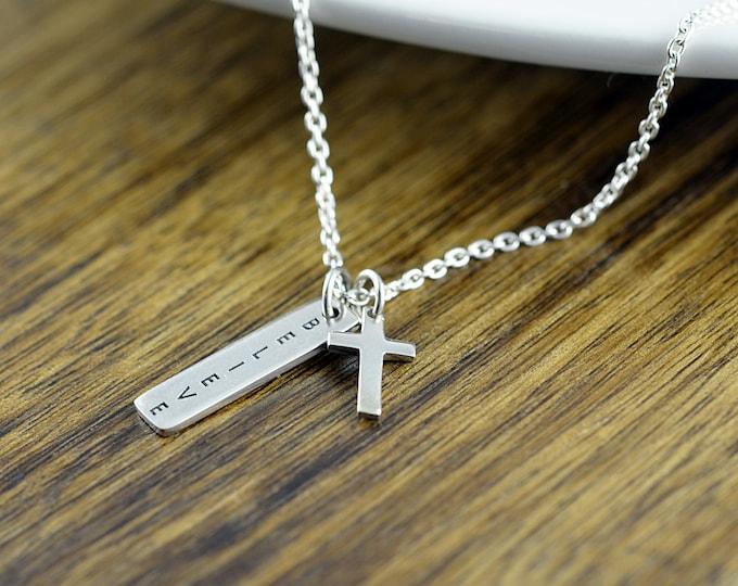 cross necklace, silver cross necklace, believe necklace, womens cross necklace, christian necklace, cross pendant
