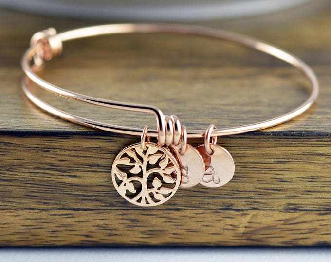 Rose Gold Family Tree Bracelet - Mother's Bracelet - Tree of Life Bracelet - Family Tree Jewelry - Grandmother Gift - Mothers Day Gift