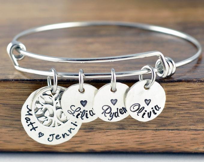 Silver Family Tree Bracelet, Family Bracelet, Grandma Gift, Grandma Bracelet, Grandmother Jewelry, Mom Gift, Mom Bracelet, Name Bracelet