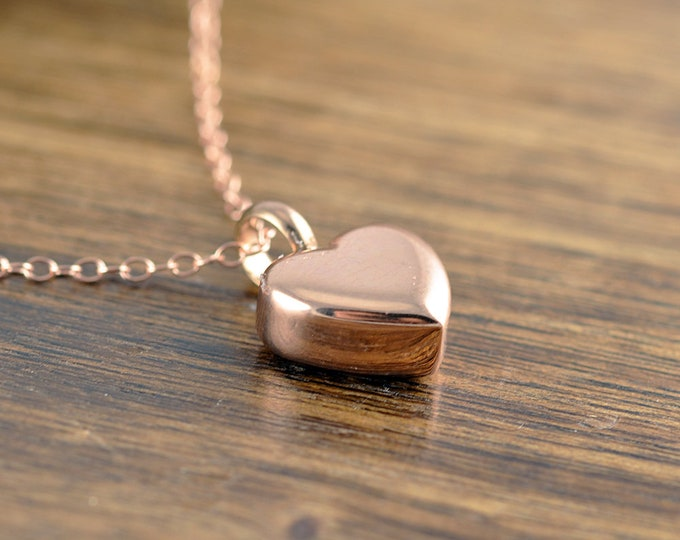 Rose Gold Heart Necklace - Cremation Jewelry, Ash Jewelry, Heart Cremation Pendant, Urn Necklace For Ashes, Cremation Necklace